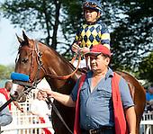 Bob Baffert's Contested and Javier Castellano before the Acorn.