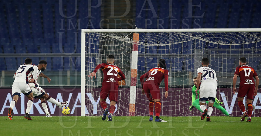 Football, Serie A: AS Roma - Cagliari calcio, Olympic stadium, Rome, December 23, 2020. <br /> Cagliari's captain Joao Pedro (second left) scores his second goal in the match during the Italian Serie A football match between Roma and Cagliari at Rome's Olympic stadium, on December 23, 2020.  <br /> UPDATE IMAGES PRESS/Isabella Bonotto