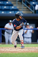 Lowell Spinners third baseman Jonathan Ortega (29) squares around to bunt during a game against the Staten Island Yankees on August 22, 2018 at Richmond County Bank Ballpark in Staten Island, New York.  Staten Island defeated Lowell 10-4.  (Mike Janes/Four Seam Images)