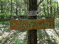 Hand-painted wood signs guide riders along the varies loops of the Marble Flats trails. Routes are laid out for beginner, intermediate and expert riders.<br /> (NWA Democrat-Gazette/Flip Putthoff)