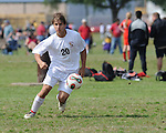 A Lafreniere soccer player looks downfield searching for an open teammate.