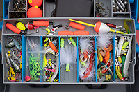 Sahib's tackle box is stocked with various lures, bobbers, sinkers and swivels Thursday April 29, 2021. Visit nwaonline.com/210430Daily/ and nwadg.com/photo. (NWA Democrat-Gazette/J.T. Wampler)