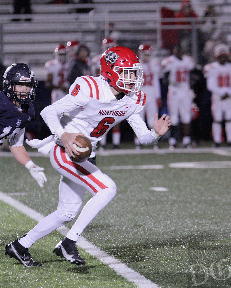 Fort Smith Northside Grizzlies Junior quarterback Walker Catsavis (6) scrambles during the frist round play-off game against the Har-Ber Wildcats Friday, November 13, 2020, at Wildcat Stadium, Springdale, Arkansas (Special to NWA Democrat-Gazette/Brent Soule)
