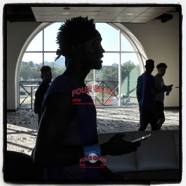 Members of the Columbia Fireflies, including Ronny Mauricio (foreground), walk through the Club Lounge at Segra Park after visiting the press box before a game against the Hickory Crawdads on Wednesday, August 28, 2019, at Segra Park in Columbia, South Carolina. Hickory won, 7-0. (Tom Priddy/Four Seam Images) #MiLB
