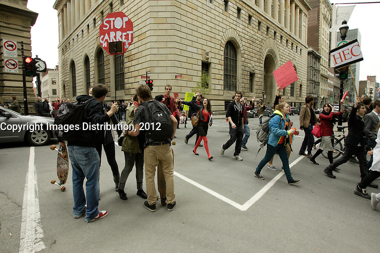 Montreal (qc) CANADA -  May 3, 2012 - student demonstration in Old Montreal.
