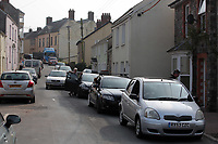 Pictured: A queue of cars in Laugharne because of the accident, Carmarthenshire, Wales, UK. Monday 27 March 2017<br /> Re: An accident involving a black Ford Fiesta nad a Volvo car has blocked the main road through, Laugharne in Carmarthenshire.<br /> The A4066 Clifton Street in Laugharne has been closed in both directions because of the accident near the Memorial Hall.<br /> The incident has led to congestion between St Clears and Pendine.