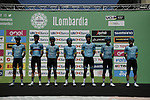 Astana Pro Team at sign on before the start of the 114th edition of Il Lombardia 2020, running 231km from Bergamo to Como, Italy. 15th August 2020.<br /> Picture: LaPresse/Marco Alpozzi | Cyclefile<br /> <br /> All photos usage must carry mandatory copyright credit (© Cyclefile | LaPresse/Marco Alpozzi)