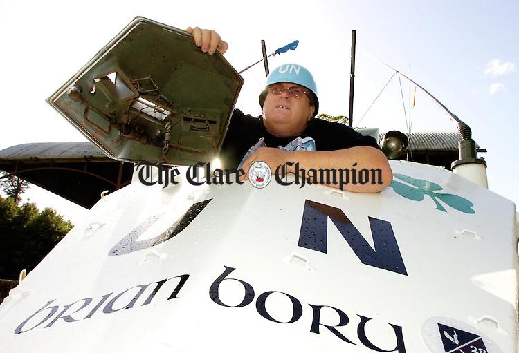 Kevin McCormack, Co Founder Irish Lebanon Veterans on the UN Armoured vehicle at Dromoland.Pic Arthur Ellis.