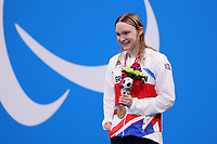 25th August 2021; Tokyo, Japan; Bronze medalist Toni SHAW (GBR) celebrates on the podium for the Swimming : Women's 400m Freestyle - S9 Final - Medal Ceremony during the Tokyo 2020 Paralympic Games at the Tokyo Aquatics Centre in Tokyo, Japan.