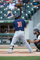 Dawel Lugo (31) of the Toledo Mud Hens at bat against the Charlotte Knights at BB&T BallPark on June 22, 2018 in Charlotte, North Carolina. The Mud Hens defeated the Knights 4-0.  (Brian Westerholt/Four Seam Images)