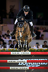 Gerco Schroder of The Netherlands riding Glock's Debalia competes in the Masters One DBS during the Longines Masters of Hong Kong at AsiaWorld-Expo on 11 February 2018, in Hong Kong, Hong Kong. Photo by Ian Walton / Power Sport Images