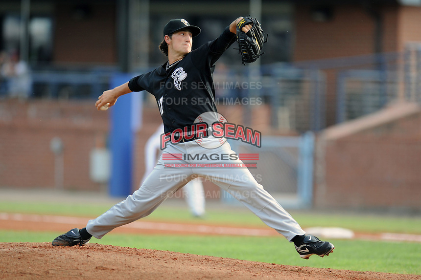 Savannah Sand Gnats Taylor Whitenton #17 delivers a pitch during a game against the Asheville Tourists at McCormick Field in Asheville,  North Carolina;  June 6, 2011.  The Tourists won the game 10-1.  Photo By Tony Farlow/Four Seam Images