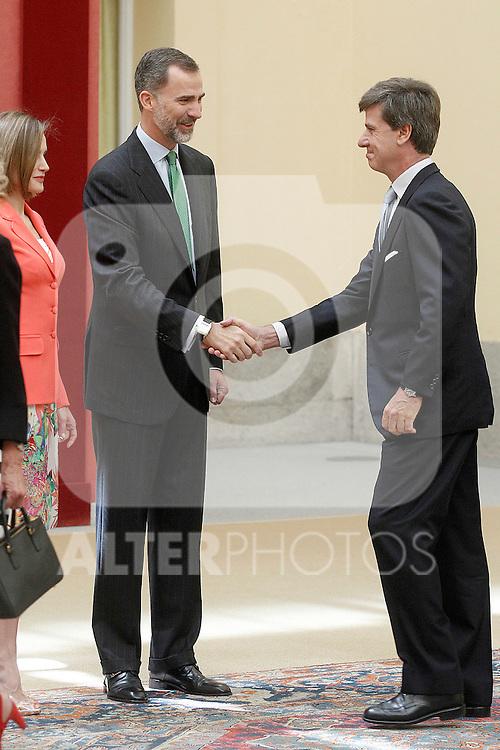 King Felipe IV of Spain and Queen of Spain Letizia with Cayetano Luis Martinez de Irujo and Fitz-James Stuart, Duke of Arjona and Conde de Salvatierra during the commemoration of the bicentennial of the Delegation of the Greatness of Spain. June 16,2015. (ALTERPHOTOS/Acero)