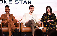 2020 FOX WINTER TCA: (L-R): 9-1-1: LONE STAR cast members Sierra McClain, Ronen Rubinstein, and Liv Tyler during the 9-1-1: LONE STAR panel at the 2020 FOX WINTER TCA at the Langham Hotel, Tuesday, Jan. 7 in Pasadena, CA. © 2020 Fox Media LLC. CR: Frank Micelotta/FOX/PictureGroup