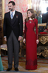 Prince Felipe of Spain and Princess Letizia of Spain attends the reception of the diplomatic corps in Spain at Palacio Real. January 23, 2013. (ALTERPHOTOS/Caro Marin)