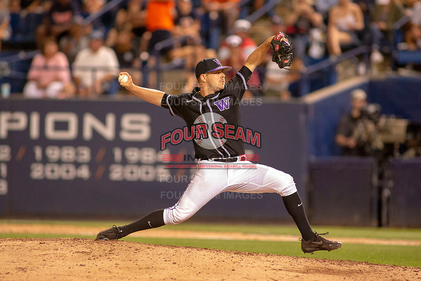 University of Washington Huskies Alex Hardy (51) delivers a pitch to the plate against the Cal State Fullerton Titans at Goodwin Field on June 10, 2018 in Fullerton, California. The Huskies defeated the Titans 6-5. (Donn Parris/Four Seam Images)