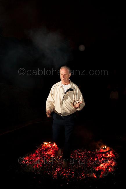 Firewalking at Fray Luis de Leon Conventions Center, Guadarrama, Spain.