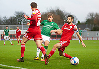 Lincoln City's James Jones battles with Accrington Stanley's Joe Pritchard, left, and Seamus Conneely, right<br /> <br /> Photographer Andrew Vaughan/CameraSport<br /> <br /> The EFL Sky Bet League One - Accrington Stanley v Lincoln City - Saturday 21st November 2020 - Crown Ground - Accrington<br /> <br /> World Copyright © 2020 CameraSport. All rights reserved. 43 Linden Ave. Countesthorpe. Leicester. England. LE8 5PG - Tel: +44 (0) 116 277 4147 - admin@camerasport.com - www.camerasport.com