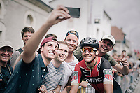 Greg Van Avermaet (BEL/BMC) taking the time for a selfie with some fans before the start<br /> <br /> 104th Tour de France 2017<br /> Stage 11 - Eymet › Pau (202km)