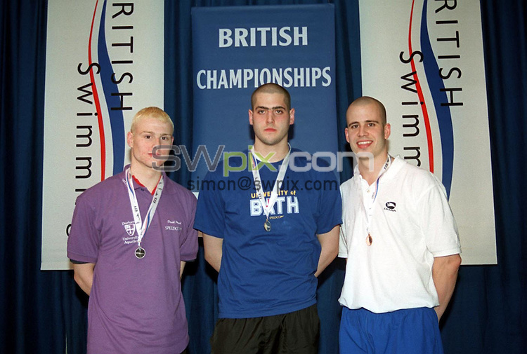 Pix: Simon Wilkinson/SWpix.com. Swimming. 2003 British Championships (50m). Ponds Forge International Sports Centre. 19/03/2003...COPYRIGHT PICTURE>>SIMON WILKINSON>>01943 436649>>..From left to Right:- Durham Aquatics David Proud (silver), Bath University's Alan Bircher (Gold), and Portsmouth Northsea's Greg Orphanides (Bronze), from the mens 5000m Freestyle Final.