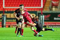 Angus O'Brien of Scarlets is tackled by Rossouw De Klerk of Southern Kings during the Guinness Pro14 Round 5 match between Scarlets and Isuzu Southern Kings at the Parc Y Scarlets in Llanelli, Wales, UK. Saturday 29 September 2018