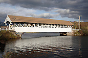 Groveton Covered Bridge during the autumn months. Located in Groveton, New Hampshire USA .