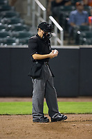 Home plate umpire Roberto Pattison checks a baseball during the New York Penn League game between the Hudson Valley Renegades and the Aberdeen IronBirds at Leidos Field at Ripken Stadium on July 27, 2017 in Aberdeen, Maryland.  The IronBirds defeated the Renegades 3-0 in game two of a double-header.  (Brian Westerholt/Four Seam Images)