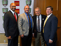 David Shaw with Stanford University Jeff Tedford Cal Berkeley, Gary Cavalli executive director KFHB and Mike MacIntyre with SJS  at the Bay Area College Football Media Day/Luncheon at the Hotel Nikko in San Franciscofor Kraft Flight Hunger Bowl on July 30.2012. ( Photo by Norbert von der Groeben ) .