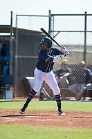 San Diego Padres first baseman Yerry Landinez (87) at bat during an Instructional League game against the Milwaukee Brewers at Peoria Sports Complex on September 21, 2018 in Peoria, Arizona. (Zachary Lucy/Four Seam Images)
