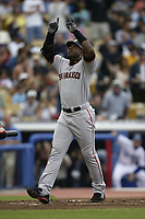 Barry Bonds of the San Francisco Giants during a 2003 season MLB game at Dodger Stadium in Los Angeles, California. (Larry Goren/Four Seam Images)