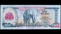 Nepal Currency, 1000 Rupees, front and back.  Mt. Everest, Elephant.  Uses Devanagari alphabet and Latin Alphabet.