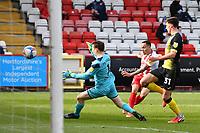 Elliott List of Stevenage FC shoots wide during Stevenage vs Barrow, Sky Bet EFL League 2 Football at the Lamex Stadium on 27th March 2021