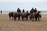 August 16, 2021, Deauville (France) - Horses from the Barrière Deauville Polo Cup after training at the beach in Deauville. [Copyright (c) Sandra Scherning/Eclipse Sportswire)]