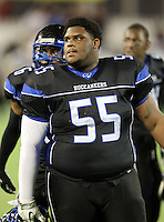 First Coast Buccaneers lineman Juwann Fannin #55 before the Florida High School Athletic Association 7A Championship Game at Florida's Citrus Bowl on December 16, 2011 in Orlando, Florida.  The score at halftime is Manatee 17 - First Coast 0.  (Mike Janes/Four Seam Images)