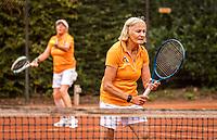 Hilversum, The Netherlands,  August 20, 2021,  Tulip Tennis Center, NKS, National Senior Tennis Championships, Women's Doubles 70+, Anneke Jelsma-de Jong (NED) (R) Ria van der Meijden (NED)<br /> Photo: Tennisimages/Henk Koster