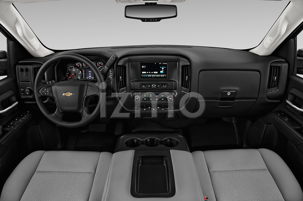 Stock photo of straight dashboard view of a 2018 Chevrolet Silverado 2500HD Work Truck Long Box Double Cab 4 Door Pick Up
