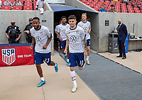 SANDY, UT - JUNE 10: Kellyn Acosta #23 and Christian Pulisic #10 of the United States warming up before a game between Costa Rica and USMNT at Rio Tinto Stadium on June 10, 2021 in Sandy, Utah.