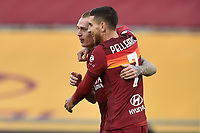 Rick Karsdorp of Roma celebrates with Pellegrini after scoring  the 3-1 goal  during the Serie A football match between AS Roma and AC Spezia at Olimpico stadium in Roma (Italy), Jannuary 23th, 2021. Photo Antonietta Baldassarre / Insidefoto