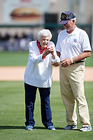 102-year-old World War II veteran Beverly Hurd, the Detroit Tigers Military Hero of the Game, throws out the ceremonial first pitch before a Grapefruit League Spring Training game against the New York Yankees on February 27, 2019 at Publix Field at Joker Marchant Stadium in Lakeland, Florida.  Yankees defeated the Tigers 10-4 as the game was called after the sixth inning due to rain.  (Mike Janes/Four Seam Images)
