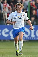 esultanza di Mirco Bergamasco (Italia)<br /> Italia vs Francia - Italy Vs France<br /> RBS 6 Nations Rugby Championship 2011<br /> Stadio Flaminio;<br /> Roma, 12/03/2011<br /> Photo Antonietta Baldassarre Insidefoto