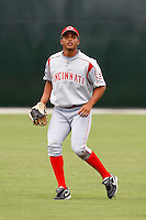 July 14, 2009:  Center Fielder Juan Silva of the GCL Reds during a game at Boston Red Sox Training Complex in Fort Myers, FL.  The GCL Reds are the Gulf Coast Rookie League affiliate of the Cincinnati Reds.  Photo By Mike Janes/Four Seam Images