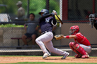 New York Yankees Luis Santos (31) bats during an Extended Spring Training game against the Philadelphia Phillies on June 22, 2021 at the Carpenter Complex in Clearwater, Florida. (Mike Janes/Four Seam Images)