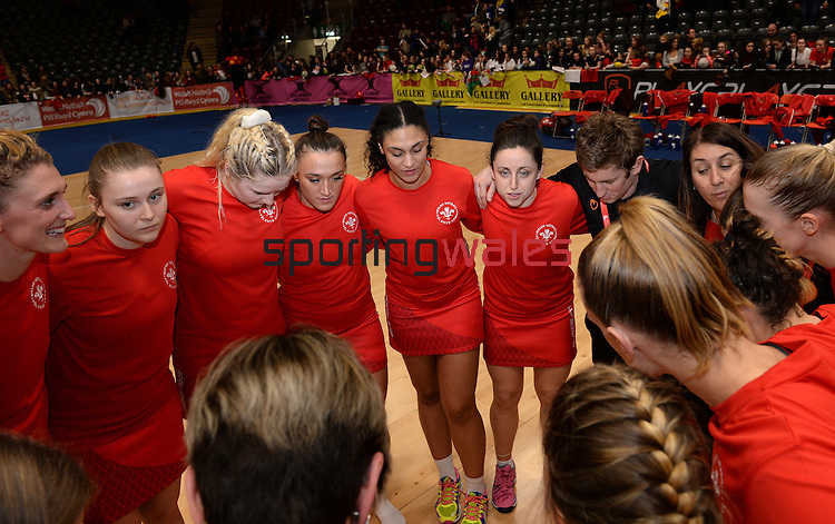 Wales Suzy Drane (Capt) gives a team talk at the end of the game <br /> <br /> Swansea University International Netball Test Series: Wales v New Zealand<br /> Ice Arena Wales<br /> 08.02.17<br /> ©Ian Cook - Sportingwales