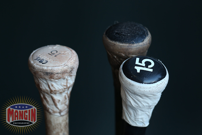 SAN FRANCISCO, CA - APRIL 20:  Bats belonging to Jesus Guzman #15 of the San Diego Padres sit in the bat rack in the dugout before the game against the San Francisco Giants at AT&T Park on Saturday, April 20, 2013 in San Francisco, California. Photo by Brad Mangin