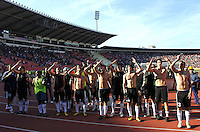 Partizan Belgrade players celebrate victory over Red Star, during the Serbian League soccer match in Belgrade, Serbia, Saturday, October  24, 2010. (Srdjan Stevanovic/Starsportphoto.com)