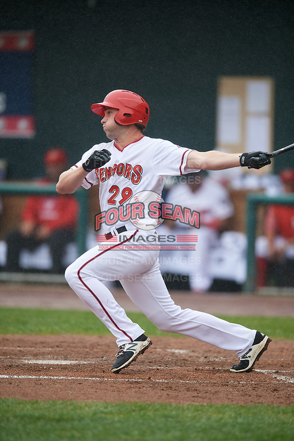 Harrisburg Senators center fielder Hunter Jones (29) grounds out during a game against the Akron RubberDucks on August 19, 2018 at FNB Field in Harrisburg, Pennsylvania.  Akron defeated Harrisburg 3-0 in a rain shortened game.  (Mike Janes/Four Seam Images)