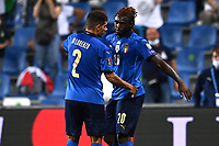 8th September 2021; Mapei Stadium, Città del Tricolore, Reggio Emilia, Italy: FIFA World Cup 2022 qualification, Italy versus Lithuania:   Moise Kean shoots and celebrates as he scores his 2nd goal for 4-0 in minute 29
