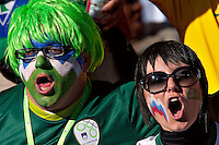 Slovenia fans in the stands before the game against USA