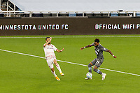 ST PAUL, MN - SEPTEMBER 27: Romain Metanire #19 of Minnesota United FC passes the ball during a game between Real Salt Lake and Minnesota United FC at Allianz Field on September 27, 2020 in St Paul, Minnesota.