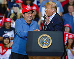 """Feb 02 21 Las Vegas Trump's Keep America Great Rally. President Donald Trump during campaign rally at Las Vegas Convention Center. President Donald Trump saluted members of the famed """"Miracle on Ice"""" US Olympic hockey team"""